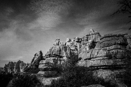 a amazing collection of eroded rocks in black and white found at Torcal in Antequera, Spain Imagens