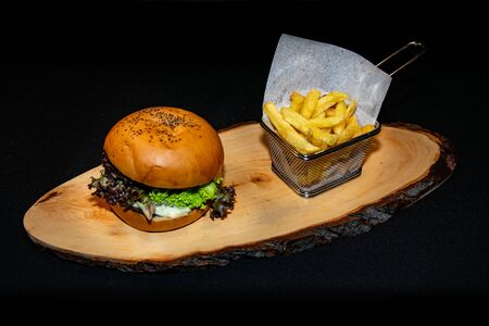a tasty grilled cheeseburger filled with fresh salad served alongside French fries Zdjęcie Seryjne