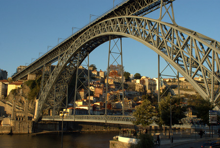 ribeira: Dom Luis Bridge on Oporto, Porto Portugal