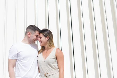 couple in love look each other in the face with love and joy