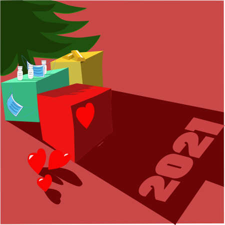 Health, money and love graphic vector. Christmas wishes for next year 2021. Ilustracja