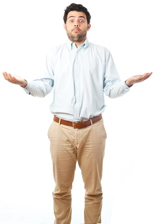 young man apologize on a white background Stock Photo