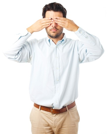 blind man: blind man gesture on a white background Stock Photo