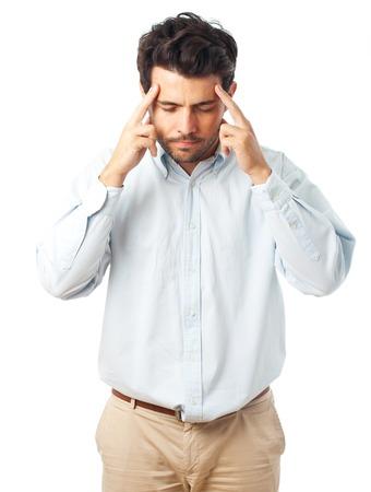男の白い背景の上の寺の指で集中