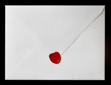 wax stamp: Envelope with wax seal. wedding invitation