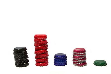 bottle cap opener: Colorful towers bottle caps.