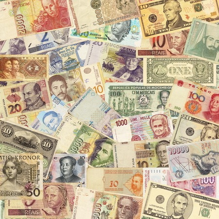 banconote euro: Colorato vecchio sfondo mondiale Paper Money Archivio Fotografico