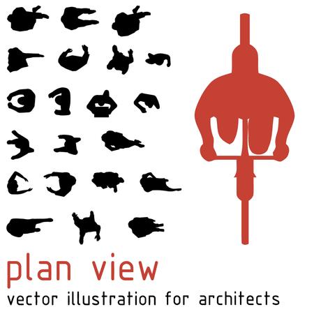 Bovenaanzicht silhouetten voor architectonische ontwerpen.