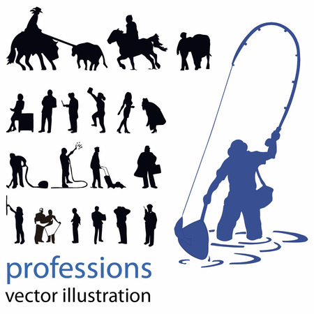 people silhouettes vector illustration professions