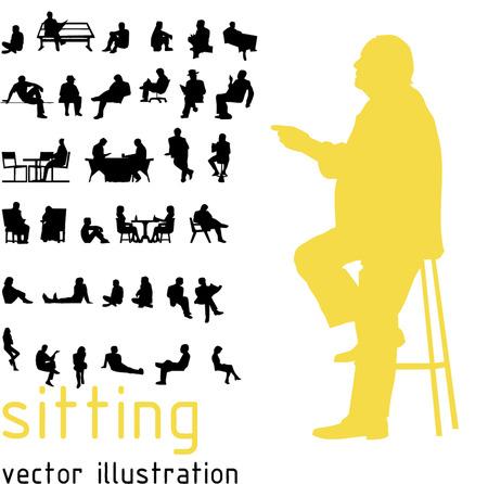 사람: 앉아있는 사람들의 실루엣입니다. 일러스트