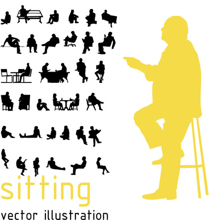 stool: Silhouettes of sitting people.