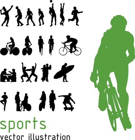 tai chi: Sports silhouettes illustration Illustration