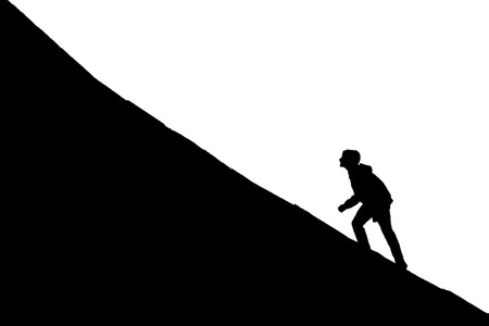 facing: Young boy going up on a slope. Facing a challenge concept Illustration