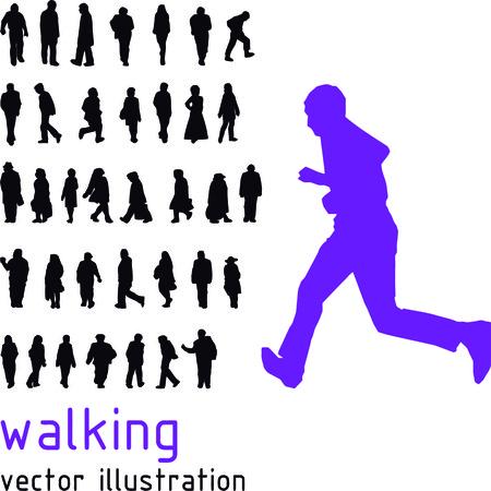 fila de personas: Caminando siluetas personas Vectores