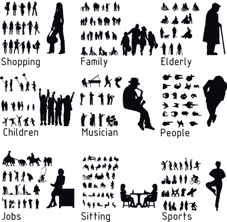 people standing: All people activity silhouettes.