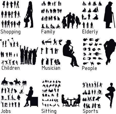 Všichni lidé siluety aktivity. Ilustrace