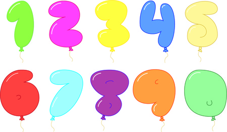 numbers: Balloon shape colorful numbers.