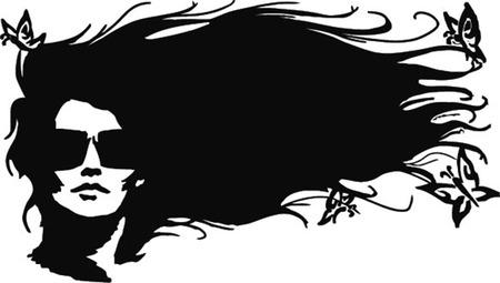 hair do: beautiful woman silhouette with butterflies.