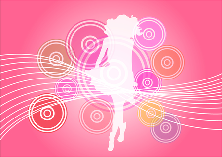 esp cards: Abstract colorful background with girl above.  Illustration