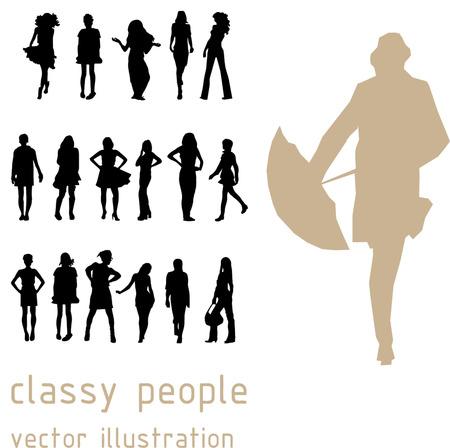 handbag model: Cool classy people illustration