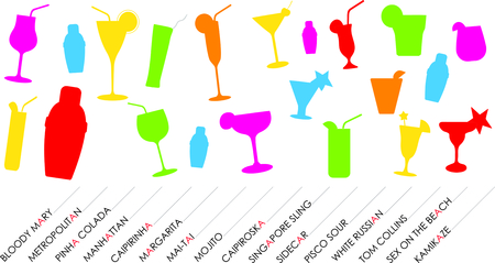 Colorful cocktails silhouettes.  Illustration