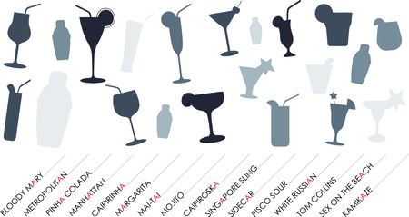 tom collins: Cocktails silhouettes set background with popular names. Illustration