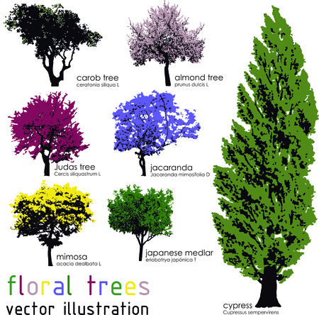 Set of floral trees silhouettes.