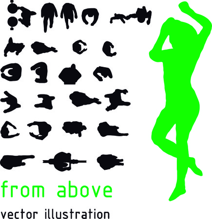 in top: Vector silhouettes from the top