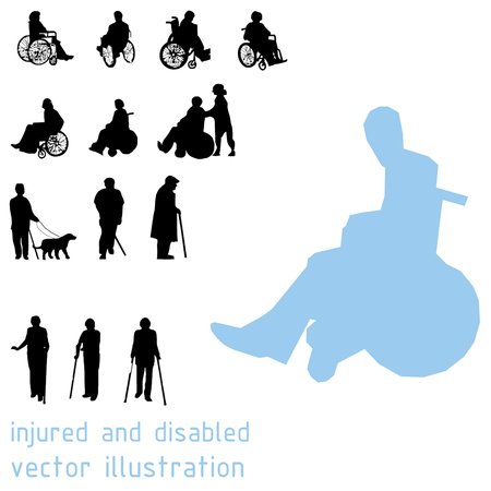 guy with walking stick: Silhouettes of impaired people. Illustration