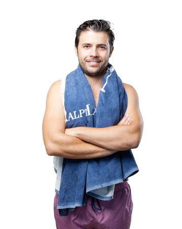 bather: Bather with towel on spa