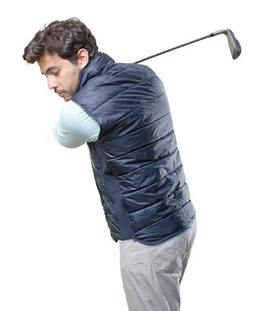 playing golf: man playing golf on white