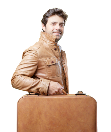 Tourist with brown jacket on white