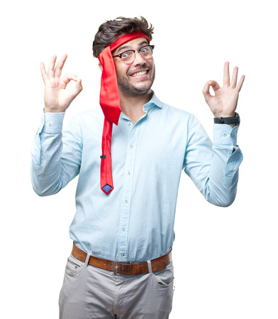 businessman on late party with tie on head Imagens