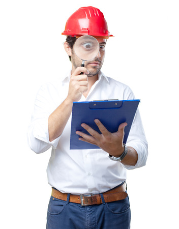 Young architect working over white background
