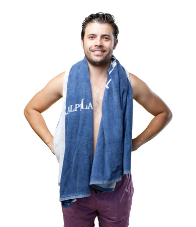 Bather with towel on spa