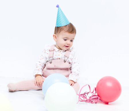 Baby birthday with ballons