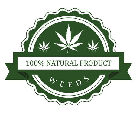 hallucinogen: Set of medicinal marijuana label Illustration