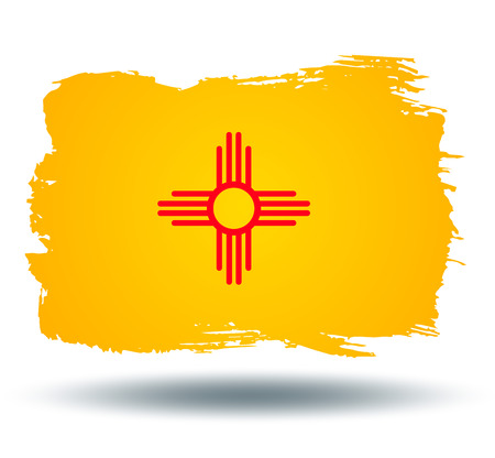illustrated globe: Flag of new mexico state