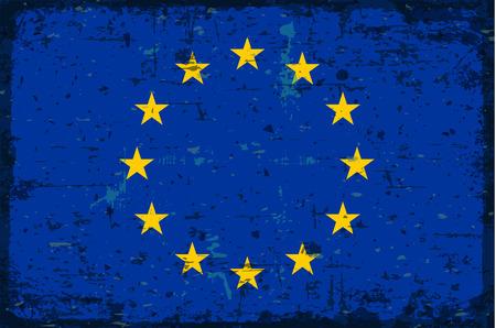 illustrated globes: Flag of European union