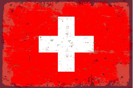 illustrated globe: Flag of switzerland Illustration