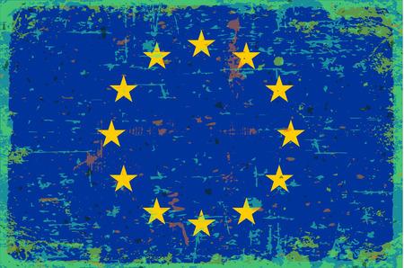 illustrated globe: Flag of European union