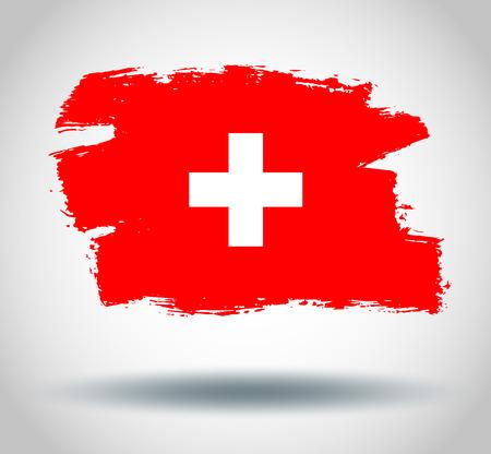 illustrated globes: Flag of switzerland Illustration