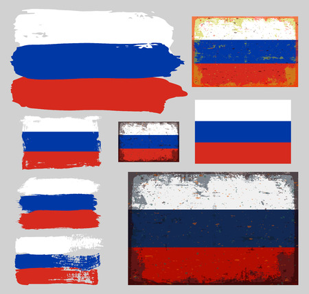 illustrated globes: Flag of Russian