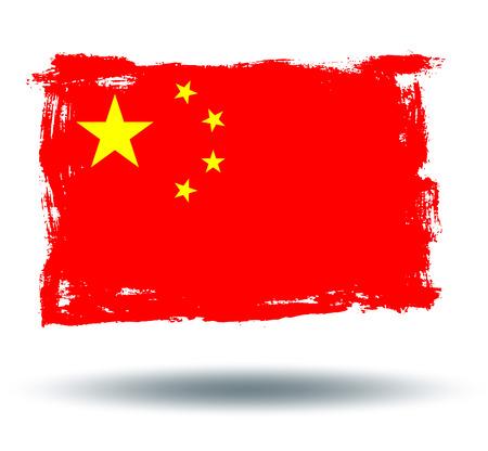 illustrated globe: Flag of China