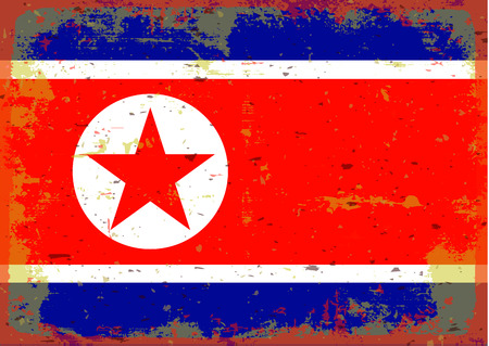 illustrated globe: Flag of North Corea