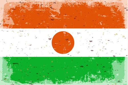 illustrated globe: Flag of Republic of niger,