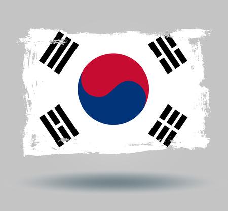 illustrated globe: Flag of South korea Illustration