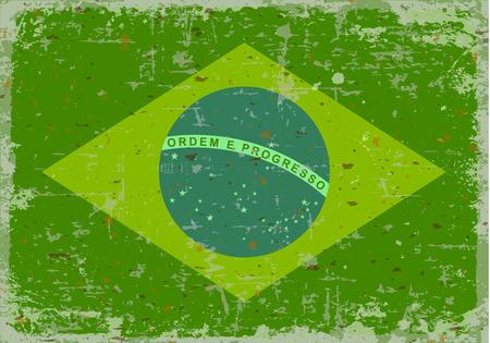 illustrated globes: Flag of brazil