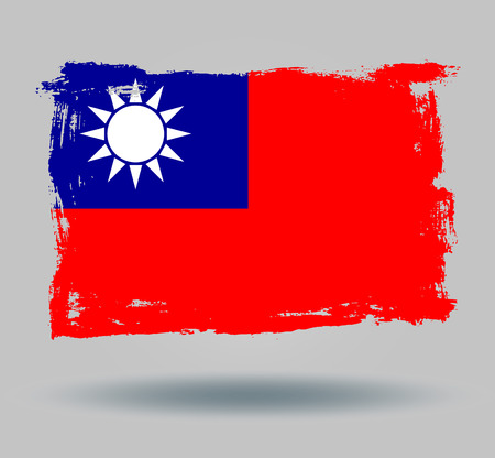 illustrated globes: Flag of Taiwan