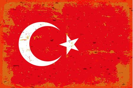 illustrated globe: Flag of Turkey